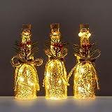 3 kleine Flaschen mit LED-Lichterkette als Beleuchtung - Dekoration aus Glas