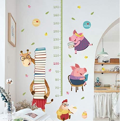 Lustige Giraffe Halten Buch Höhe Maßnahme Wandaufkleber Für Kinderzimmer Pvc Wachstum Chart Abziehbild Cartoon Wandbild Kunst Wallposter 156 * 100 cm -