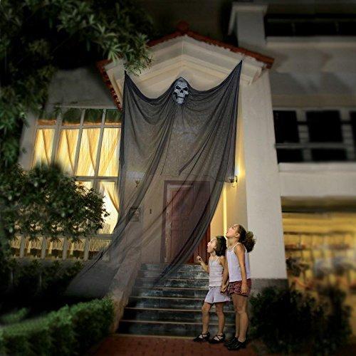 Halloween-hängende Geist-Stütze, die Skeleton fliegenden Geist, Halloween hängende Dekorationen für Yard im Freien trägt Innenpartei-Stange, 3.3m lang (Schwarzes)