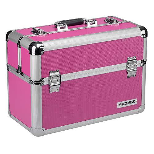 anndora Werkzeugkoffer 24L Präsentationskoffer Etagenkoffer Pink + Schlüssel