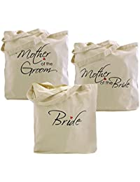 ElegantPark Mother of the Birde/Groom Tote Bag Wedding Party Favour Gift 100% Cotton