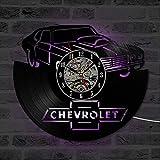 SLFD Car Logo Chevrolet Disco de Vinilo Reloj Arte de la Pared Reloj Colgante Retro Decoración para el hogar Diseño Moderno LED Reloj de Pared