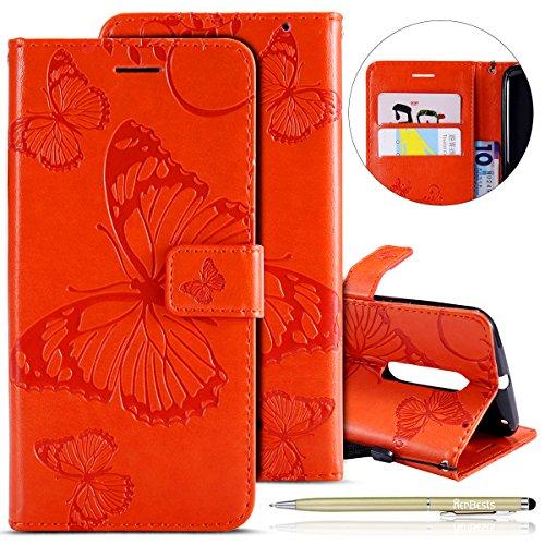 Herbests Kompatibel mit Leder Handy Schutzhülle Motorola Moto X Style Lederhülle Schmetterling Muster Leder Handyhülle Handytasche Brieftasche Ledertasche Bookstyle Flip Case Cover Klapphülle,Gelb