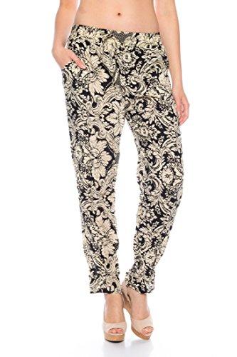 Dress Sheek Damen Premium Luftige Sommerhose Haremshose Strandhose Freizeithose Pumphose Pluderhose Baumwolle Gemustert Hose (M / L, DS897-1-Schwarz)