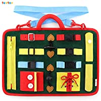 teytoy Toddler Busy Board Toy, Educational Learning Toys for Toddlers Learn Skills, Learning Board with Zippers, Buttons, Buckles, Braids Suitable for 1 2 3 4 Year Old Toddlers