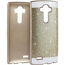 LG G4 PC Dura,LG G4 Tapa,Asnlove Carcasas y Funda Hard Case,Teléfono Móvil Caja Protectora Dura Colorido Chic Caso, Cover Policardonato Dura Brillo Case Diseño Bling Brillante Protectora Bumper Tapa Trasera para LG G4-Dorado