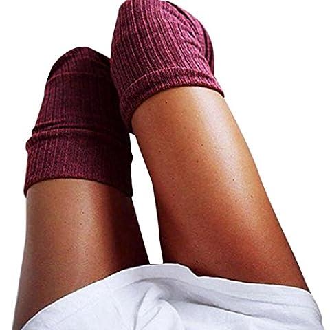Chaussettes haute Femme, Kolylong 2017 Vent Collège Cuissardes Chaussettes elastique Bas Over Knee pour fille (60-80cm, vin)