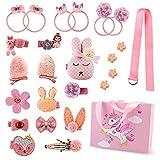 Haarspangen-Set für Babys, Mädchen, mit niedlichen Hasenschleifen, Blumenklammern, Haarreifen, Zubehör Set für Teenager Mädchen Babys Kleinkinder - Einhorn-Geschenk-Box