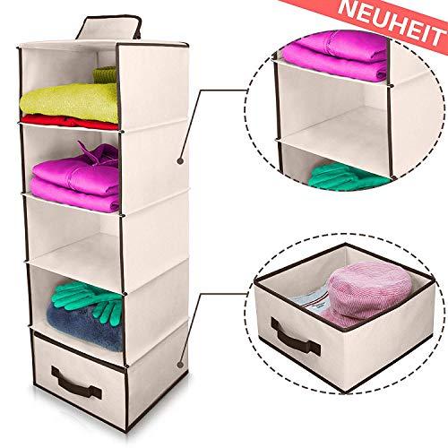 Sortierbox faltbox Hängeregal mit Schublade | Hängender Stoffschrank mit 5 Fächern |...