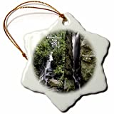 3dRose orn_26334_1 Dukes Creek Falls and Raven Cliff Falls Porcelain Snowflake Ornament, 3-Inch
