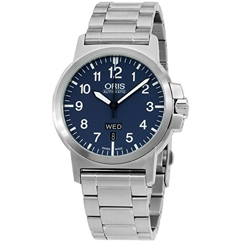 ORIS Aviation Homme 42MM Automatique Cadran Bleu Montre 73576414165MB