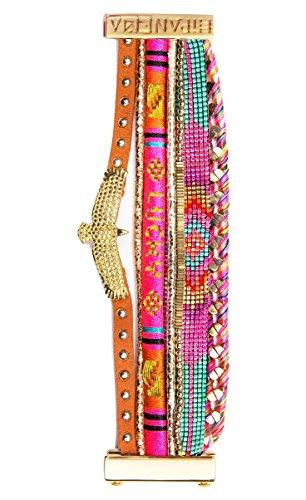 Gioiello Hipanema cinturino, colore: rosa, in perle e fili, con aquila Hipanema Pinklucky-taglia: M