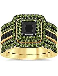 Silvernshine Enhancer Ring Guard & Engagement Ring Set Yellow Gold Plated Peridot Sim Diamonds