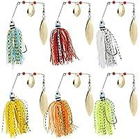 Naler 6pcs Señuelos de Pesca Artificiales, Señuelos de cebo Spinner Gancho Pesca Tackle Sharp Ganchos Accesorios