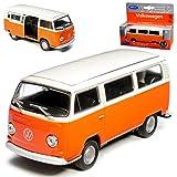 VW Volkswagen T2 Orange Beige Bus Transporter 1967-1979 ca 1/43 1/36-1/46 Welly Modell Auto mit individiuellem Wunschkennzeichen
