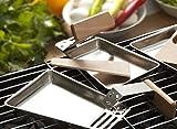 4er Set Grill-Pfannen Edelstahl Raclette-Pfännchen abnehmbarer Holz-Griff inkl. Holz-Schaber