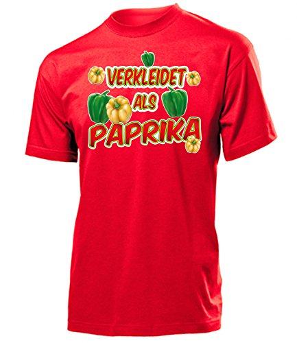 Paprika 4995 Karneval Fasching Kostüm Herren T-Shirt Männer Paar Gruppen Outfit Klamotten Oberteil Gemüse Faschings Karnevals Motto Party Rot M (Ananas Kostüm Für Erwachsene)