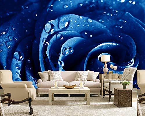 SLCERC Wallpaper Hintergrundbild Benutzerdefinierte 3D Tapete Blue Rose Tv Sofa Hintergrund Wand Wohnzimmer Dekoration Wandbild Restaurant Günstige Tapete, W400Cm * H309Cm Blue Rose Japan