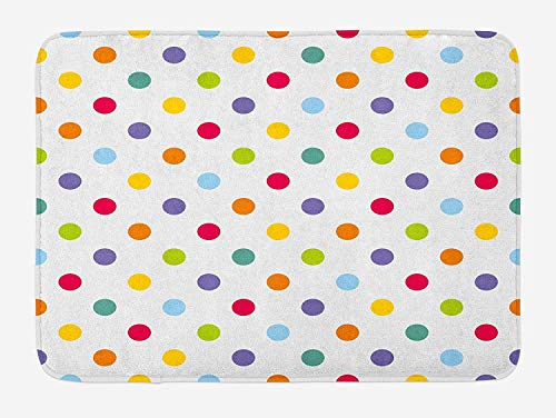 OQUYCZ Kids Bath Mat, Vintage Polka Dots in Pastel Colors on Blank Background Cheerful Desing Illustration, Plush Bathroom Decor Mat with Non Slip Backing, 23.6 W X 15.7 W Inches, Multicolor - Geek Dot