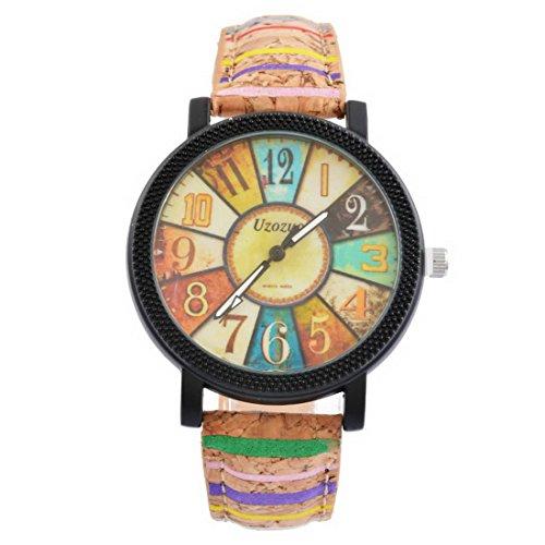 Souarts Damen Retro Stil Farbig Streifen Armbanduhr Quartz Analog mit Batterie (#2)