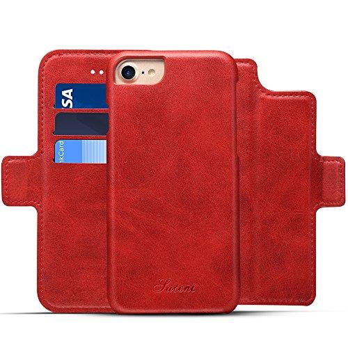 iPhone 6/6s Leder Flip Case Handyhülle und Brieftasche Handytasche mit 4 Kredit Kartenfächer - Abnehmbare Magnet Schutzhülle - Standfunktion,Rot