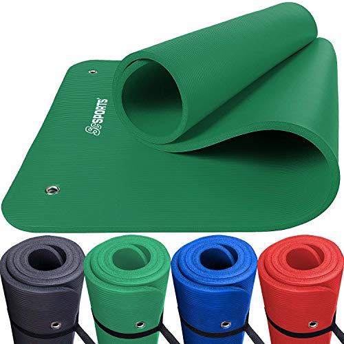 ScSPORTS Gymnastik-/Yoga-Matte, mit Schultergurt, extra groß und dick, 185 cm x 80 cm x 1,5 cm, grün