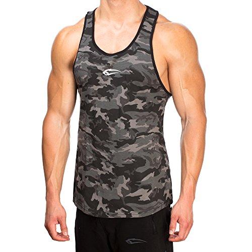 SMILODOX Camouflage Stringer Herren | Muskelshirt mit Aufdruck für Gym Fitness & Bodybuilding | Muscle Shirt - Unterhemd - Achselshirt - Trainingshirt Kurzarm, Größe:XL, Farbe:Anthrazit Camouflage (Camouflage Tank Herren Top)