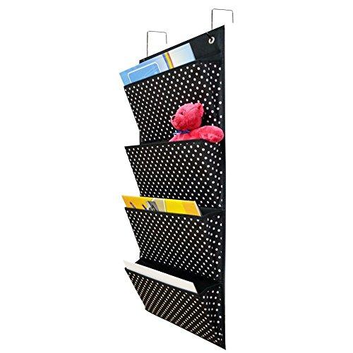 eamay Tür/Wand aufhängen Datei Organisatoren klappbar mit 4Taschen 2Haken für Zeitschriften, Notebooks, Datei Speicherung Ordner (schwarz mit weiß Punkt) (4 Pocket Organizer Mail)