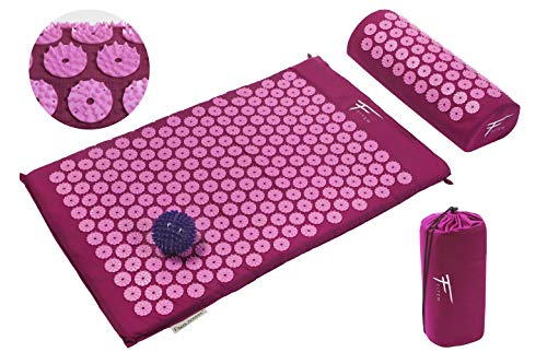 Kit de acupresión Fitem - Esterilla de acupresión + Cojín de acupresión + Bolsa + Bola de masaje - Alivia dolores de Espalda y Cuello - Ciática - Masaje de espalda - Relajación muscular - Acupuntura