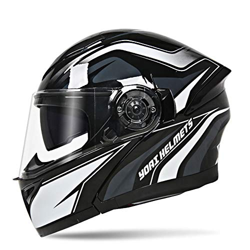shuhong Motorcycle Helmets Full Face Flip Up HD Double Lens Personalized  Modular Off-road Helmet For Mens,K-L(56-58cm)
