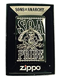 Zippo Custom Lighter - Samcro Sons of Anarchy SOA PRIDE FAMILY LOYALTY LASER Engraving - Regular EBONY BLACK Ice