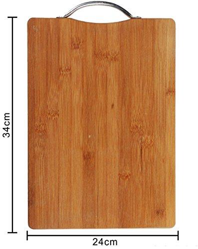 Vetrineinrete® tagliere in legno con manico in acciaio per aperitivo vassoio taglieri per servire salumi formaggi affettati antipasti finger food decorazione per casa cucina 99419 (34x24x2 cm) a24