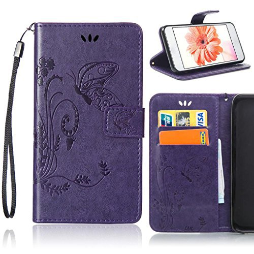 Fubaoda PU Cuir Étui pour Apple iPhone 5 5S/5SE Nature Fleur Housse Papillon Coque Stand Fonction Magnétique Anti Choc Perfekt Folio Protection Case Silicone Souple Shell pour Apple iPhone 5 5S/5SE, c Violet