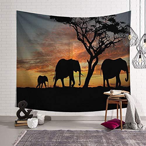 Arazzo da Parete Grande Fotografia di Elefanti, Morbuy Hippie Poliestere Stampa Home Decor tappeti da Parete Casual Picnic Telo Mare (D,Grande (150 x 200 cm))
