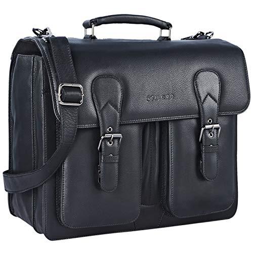 STILORD \'Karl\' Aktentasche Herren Lehrertasche Bürotasche Laptoptasche Umhängetasche XL Businesstasche Vintage groß aus echtem Leder, Farbe:schwarz