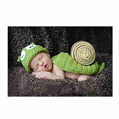 DAYAN Baby-Kostüme Häkelarbeitknit Tiere Kostüm 3 ~ 6 Monate / Mädchenkleidung Fotografie - Schnecke - Grün (Tier Kostüme Baby)