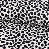 SCHÖNER LEBEN. Velours Fellimitat Kunstfell Dalmatiner weiß schwarz 1,5m Breite