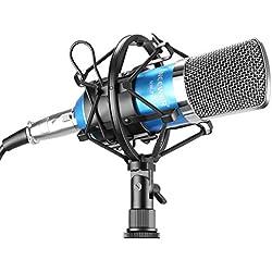 Neewer NW-700 - Juegoprofesional de micrófono de condensador NW-700+ soporte antigolpes de metal + cubierta de espuma antipop + cable de audio (azul)