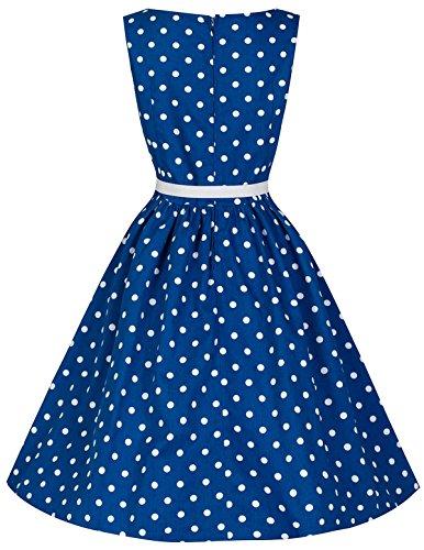 Ecollection® Damen Audrey Hepburn 50s Retro vintage Polka Dot Bubble Skirt Rockabilly Swing Evening Dress Kleider V040 Blue