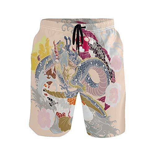 Chinesischen Stil Dragon Animal Badehose für Männer Jungen Quick Dry Beach Shorts mit Taschen Kordelzug