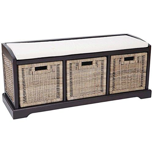 Mendler Sitzbank Bienne, Aufbewahrungsbox, 3 Körbe, Kubu-Rattan-Geflecht, 112x46x37cm ~ dunkel