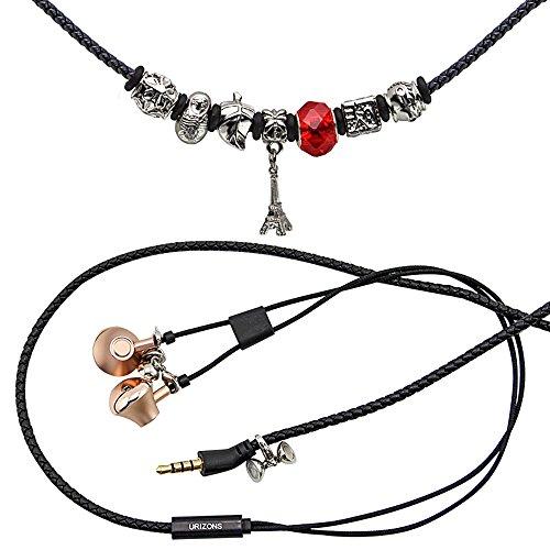 URIZONS In Ear Kopfhörer, In-Ohr Kopfhörer mit Mikrofon und Fernbedienung Pandora Perlen Wearable Wistband Halskette (Turm Schwarz)