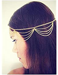Generic Fashion Lady Women Girl Muti Layers Tassels Headband Link Chain Cuff Headpiece(Gold) by HuntGold