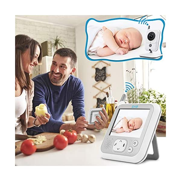 GHB Baby Monitor Video Baby Monitor with Camera 3.2 Inch Handheld Parent Unit Infrared Night Vision Room Temperature Display 2-Way Talk Baby Lullabies GHB Portable Parent Unit - with the wireless 3.2'' display, new parents can monitor their lovely baby clearly in the living room, kitchen or any place in the signal range Infrared Night Vision - you can keep eye on your baby at night in your bedroom and no need to go to the baby room, which avoids waking up your baby VOX Mode (power saving mode) - under VOX mode, if baby camera detects a sound over a certain threshold in the baby room, the video display will turn on automatically, and then will turn off when the baby room is silent to save the battery power 7