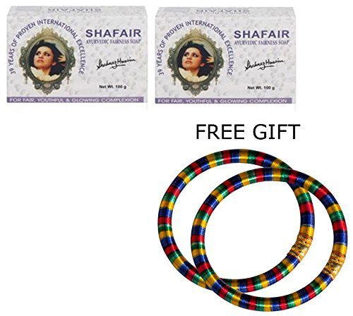 Shahnaz Husain Shafair Ayurvedic Fairness Soap - 100g - (Pack of 2) - with FREE GIFT (Pair of Multicolor Bangles)  available at amazon for Rs.461