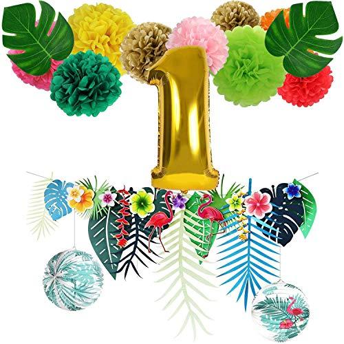 Flamingo Banner Geburtstag Dekorationen Baby Mädchen 1. Geburtstag Party Number One Ballon Sommer Hawaiian Luau Tropical Party Hochzeit hängende Dekorationen, Rosa Grün Gold, All in one Pack, sorive - Papier Hibiskus-blumen