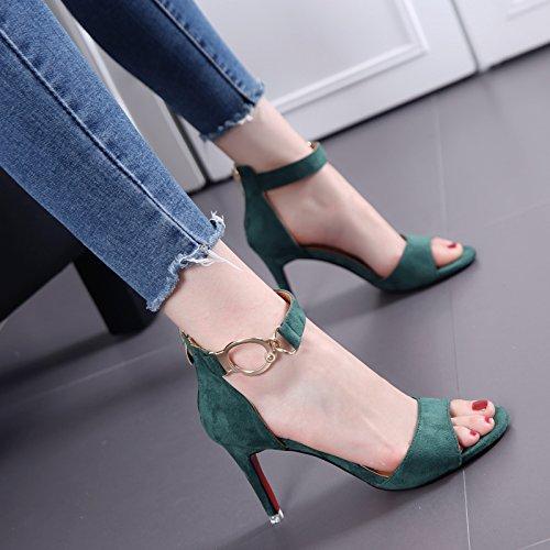 Bocca dei pesci dei sandali di camoscio con sottile femminile temperamento Tutto-Fiammifero Word con tacchi alti in estate Green