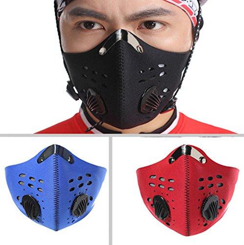 Gesichtsmaske aus Aktivkohletuch für Damen und Herren, gegen Luftverschmutzung beim Sport im Freien, Fahrradfahren, Reisen, schwarz