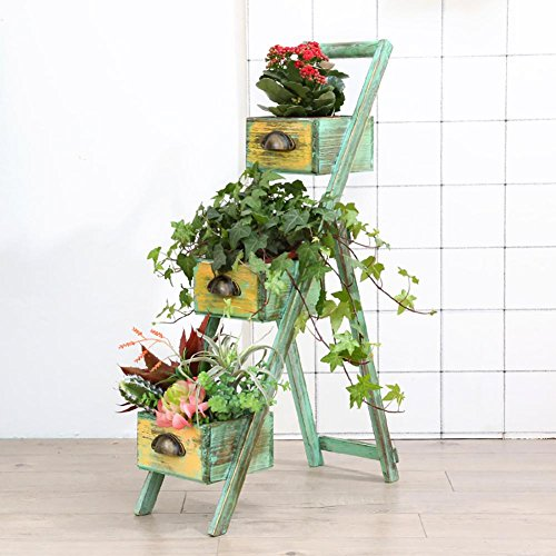 RJZHJ européen rural Pliant Support de fleurs / À l'intérieur et à l'exterieur jardin balcon fleuriste sol Pot de fleurs / Simple et créatif Multifonction Étagère Étagère de rangement , green , 50*82cm