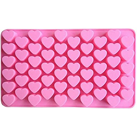 asentechuk® 55Holes Mini Corazón de silicona Cake Mold chocolate candy pudín molde DIY molde para hornear